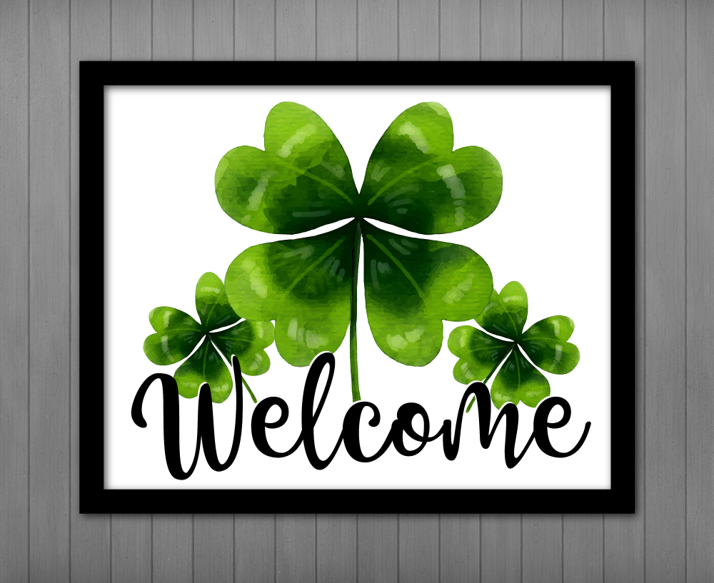 Image result for welcome sign with shamrocks