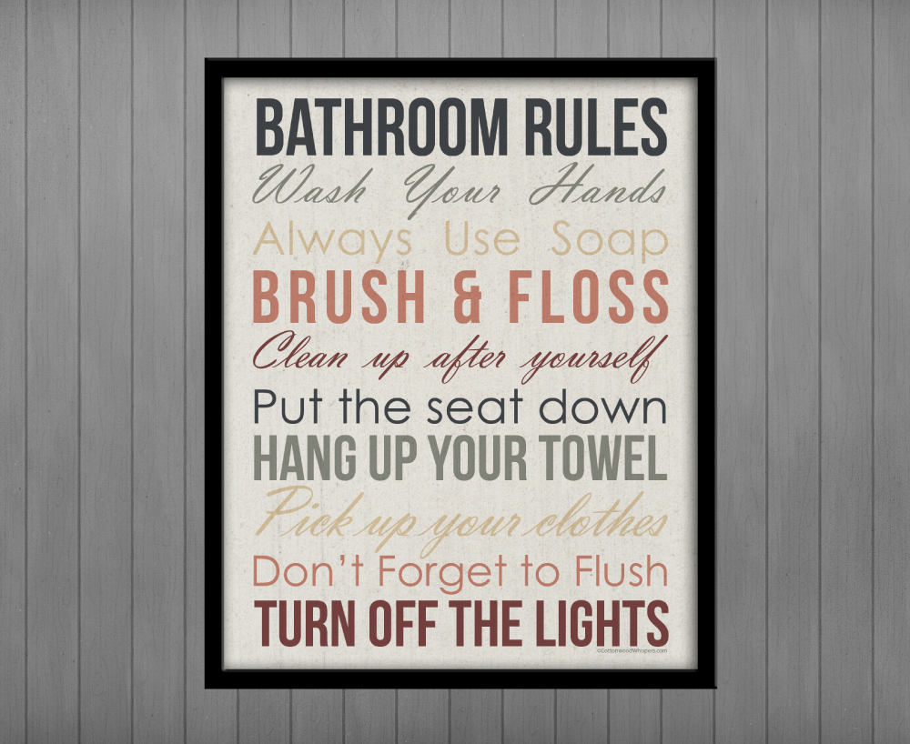 photograph about Printable Bathroom Rules identified as Toilet Laws, Printable