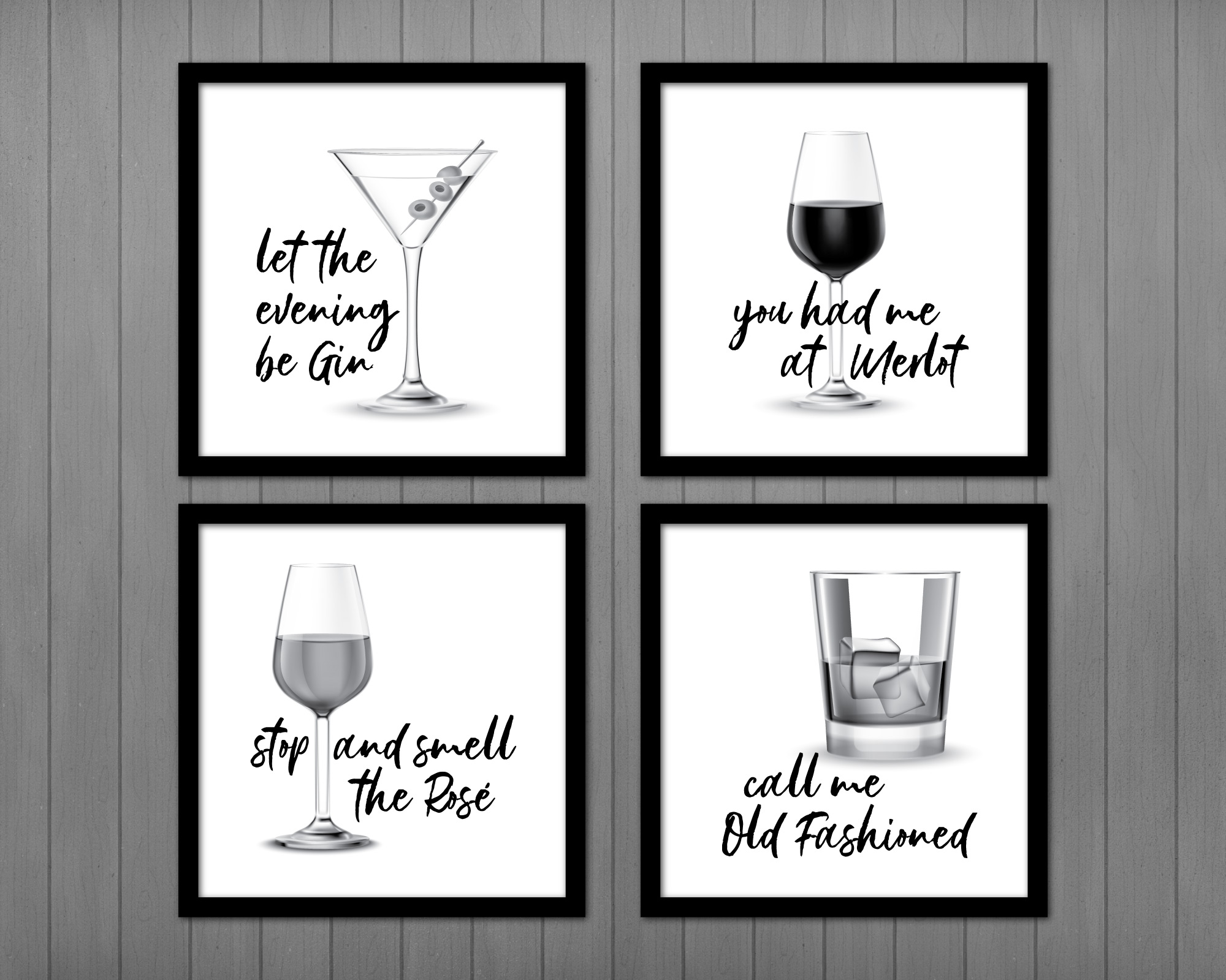 Bar Signs, Set of Four, Gin, Merlot, Rosé, and Old