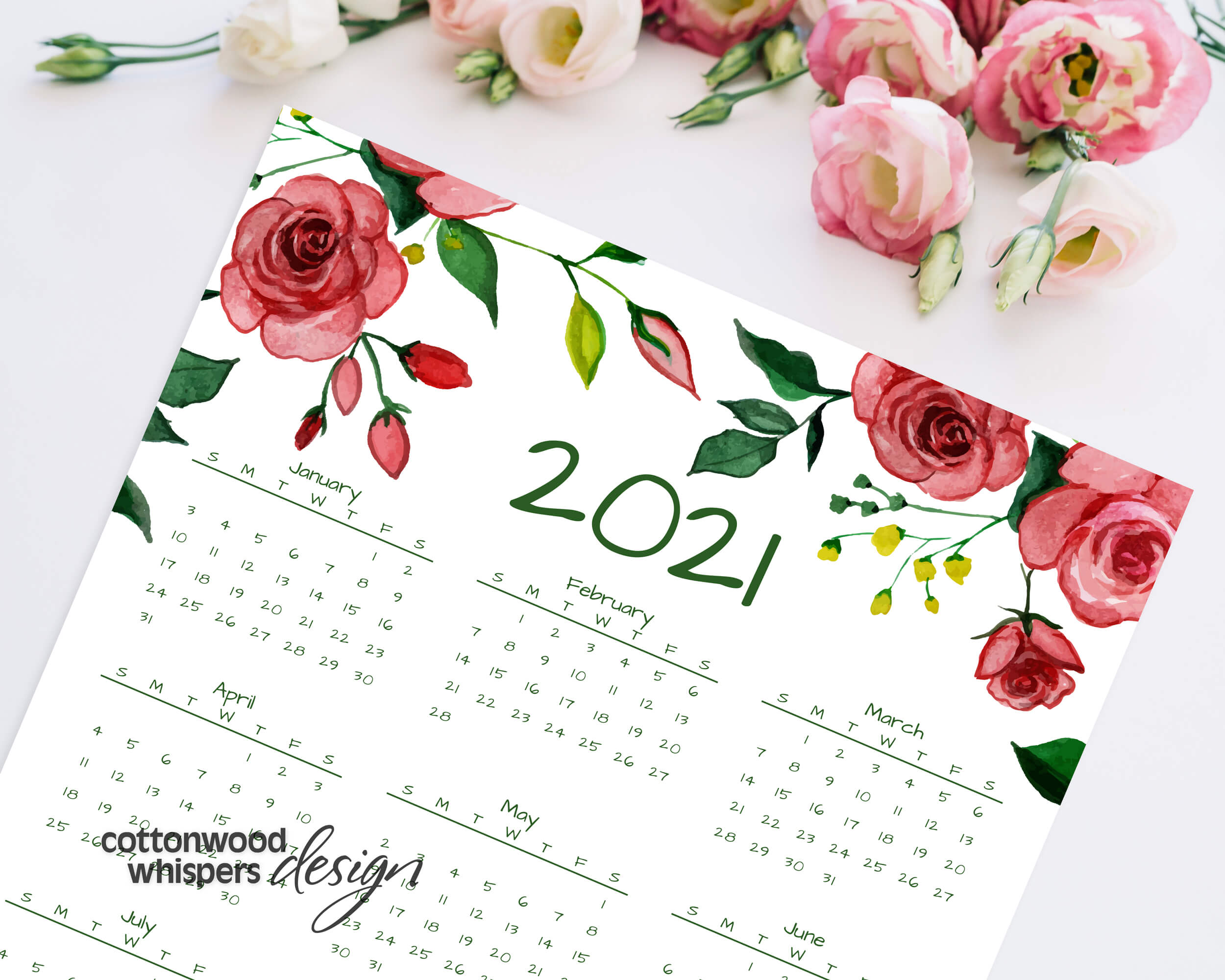 2021 Year At A Glance Calendar   Red Roses   Printable ...