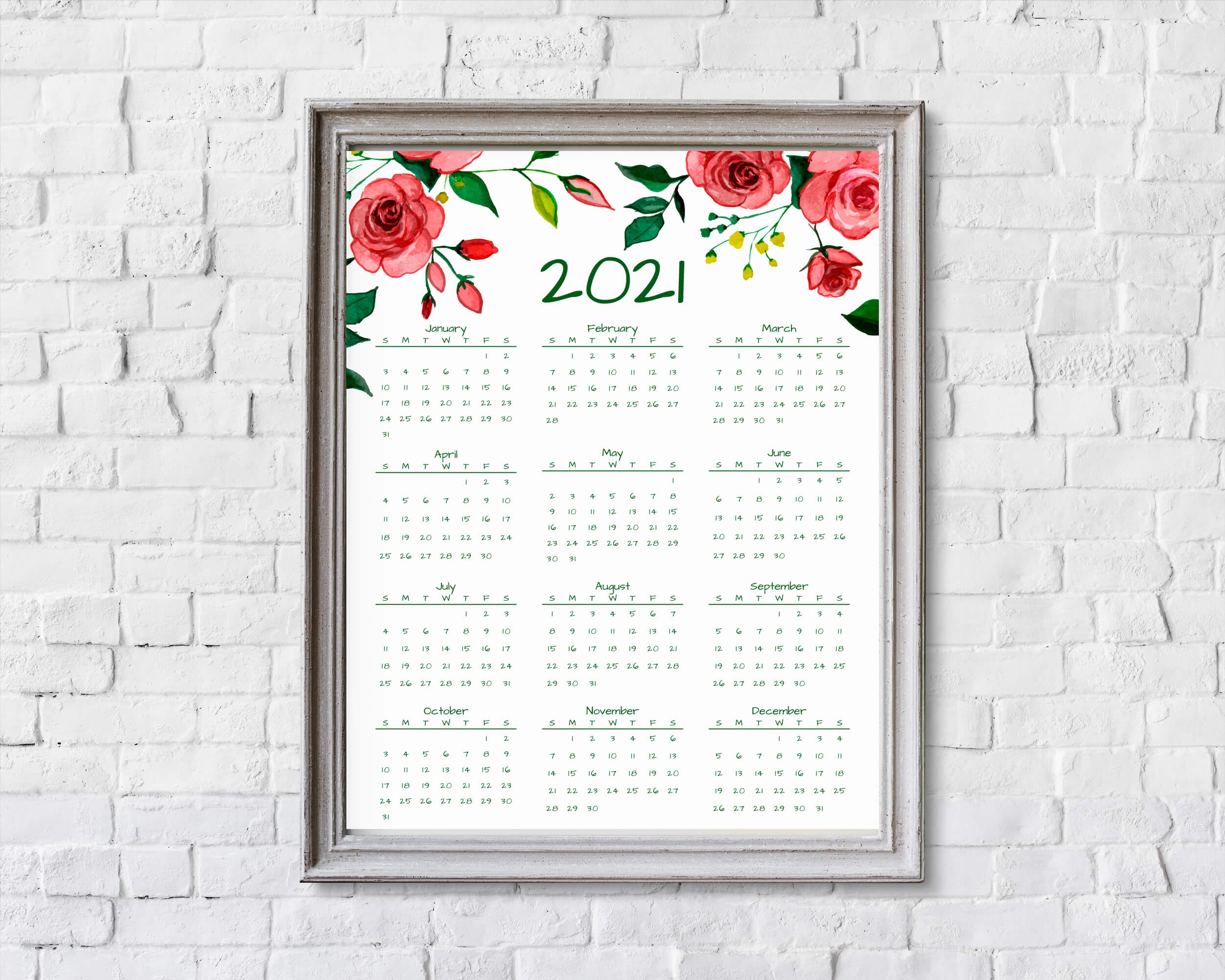 2021 Year At A Glance Calendar | Red Roses | Printable ...