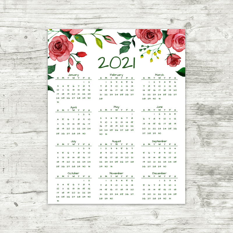 2021 Year At A Glance Calendar | Red Roses | Printable Calendar