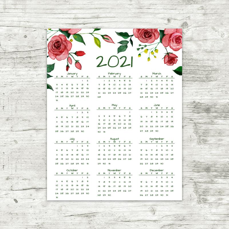 2021 Year At A Glance Calendar Printable 2021 Year At A Glance Calendar | Red Roses | Printable Calendar