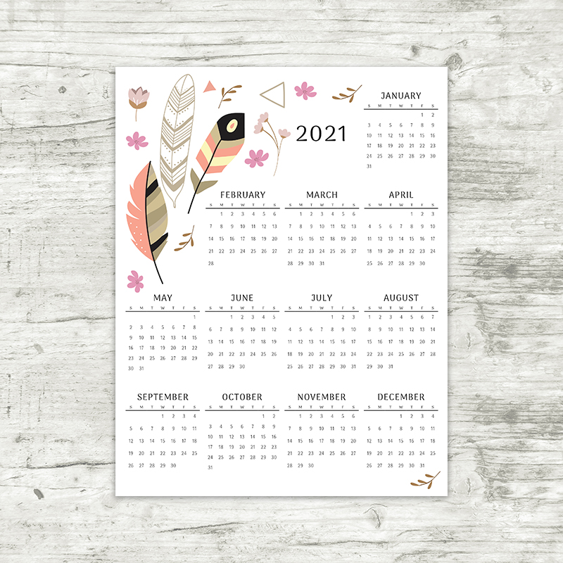 2021 Year At A Glance Calendar   Feathers   Printable ...