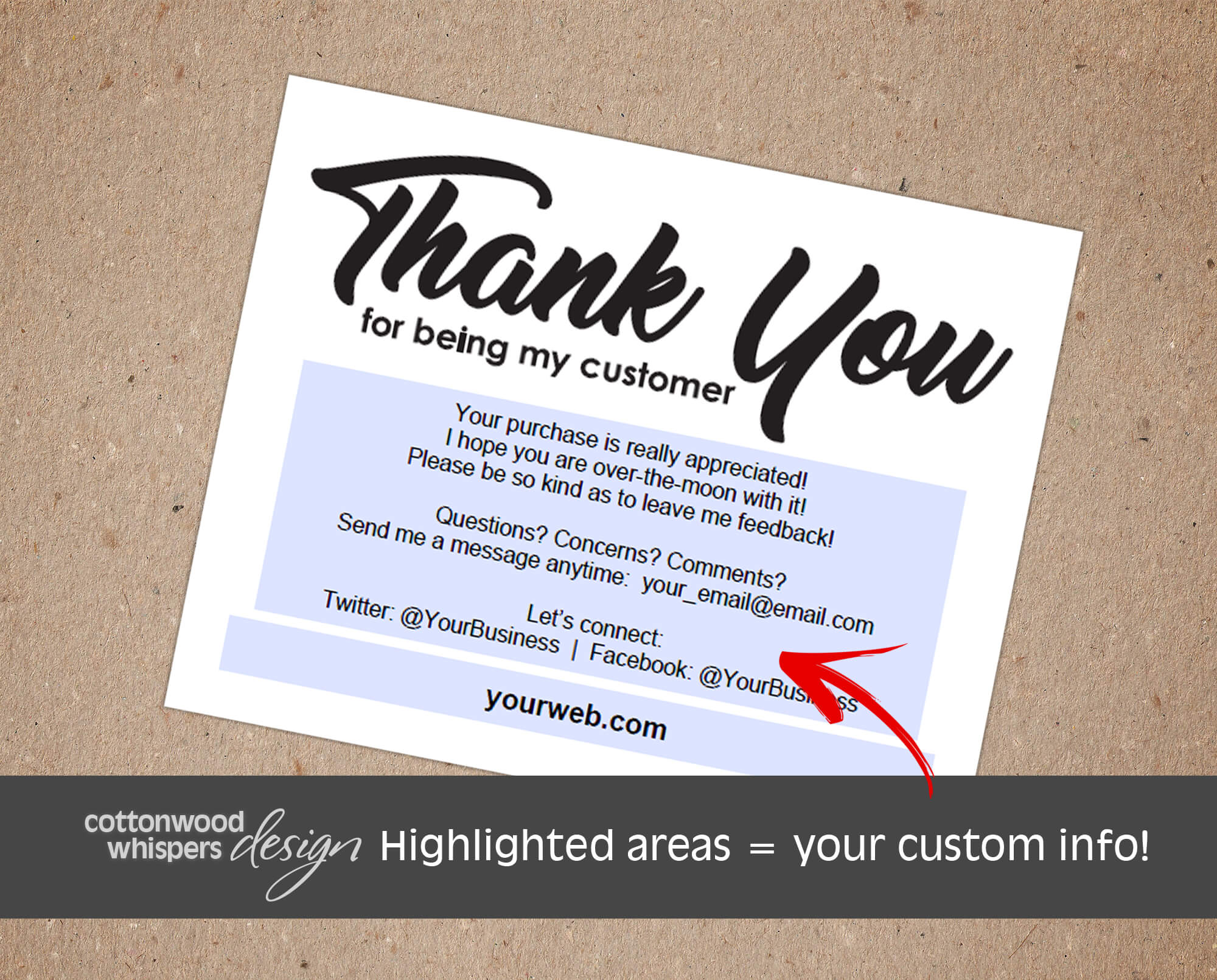 thank you for being my customer  editable pdf inserts