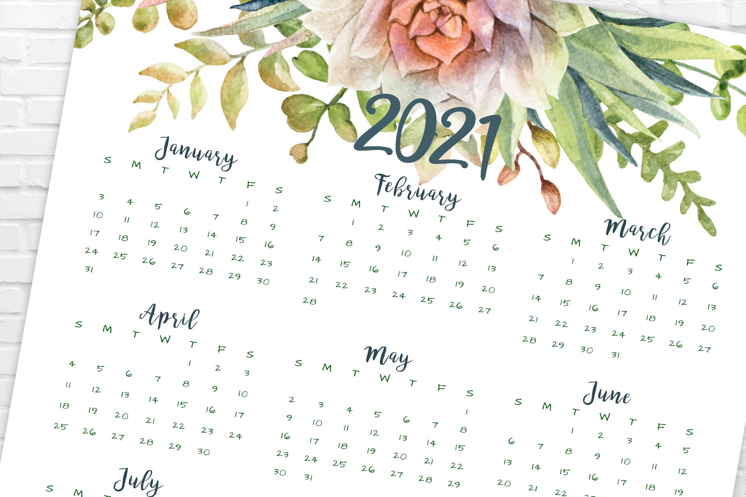 2021 Year At A Glance Calendar | Succulents | Printable ...